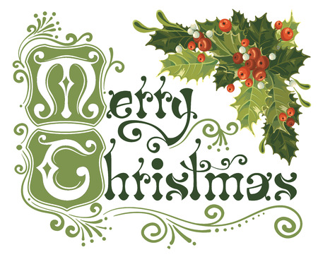 christmas postcard: Merry Christmas, lettering in vintage style with holly berry
