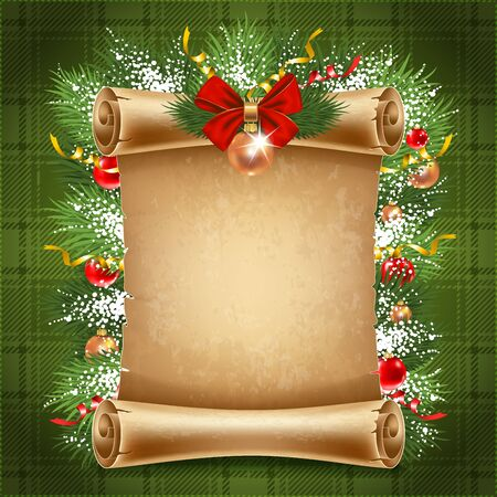 life event: Vertical old scroll paper with christmas decorations and space for your text