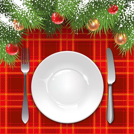 休日の装飾とタータン チェックのテーブル クロス クリスマス メニュー テンプレートです。  イラスト・ベクター素材
