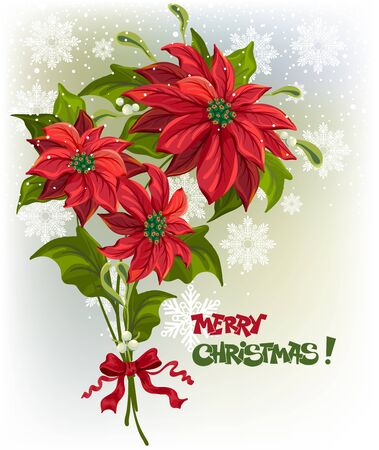 Christmas background with bouquet of poinsettias