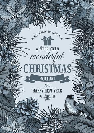 flor de pascua: Tarjeta del vector de la vendimia con la mano dibujada en estilo grabado abeto, flor de pascua y conos de abeto para la Navidad. Pájaro en una rama de acebo de bayas. Te deseo un día de fiesta maravilloso!