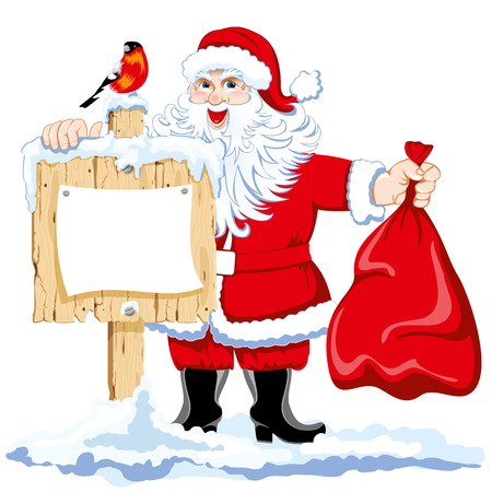 Santa with a bag of gifts beside a wooden pointer. Vector.