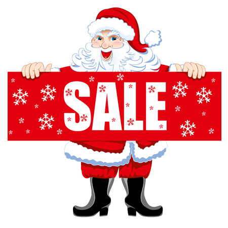 Santa with a poster on sale. Vector.