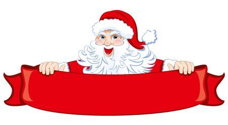 Père Noël avec un ruban rouge de fête. Vecteur.