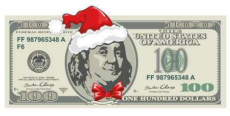 Dollar banknote for Christmas with Santas hat in humorous style. Business concept.