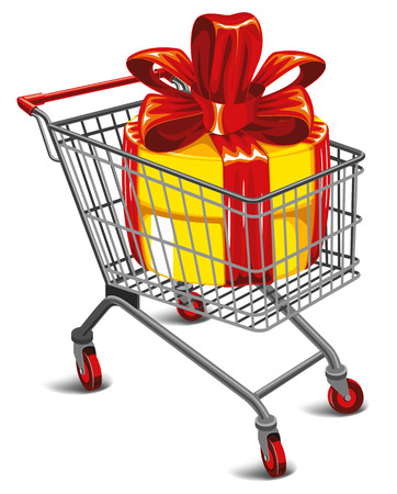 Shopping cart with a great gift. Detailed vector illustration.