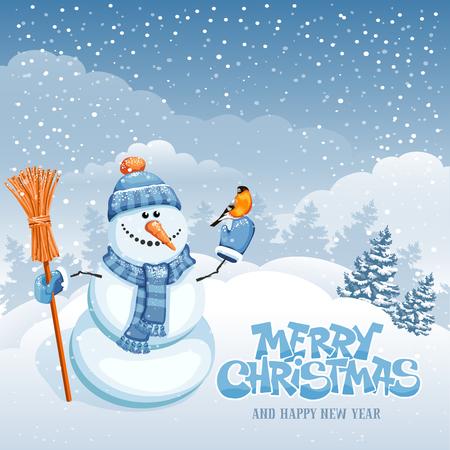 carte de voeux de Noël avec bonhomme de neige mignon sur le paysage d'hiver