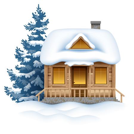 Schattige houten huis in de sneeuw. Vector afbeelding.
