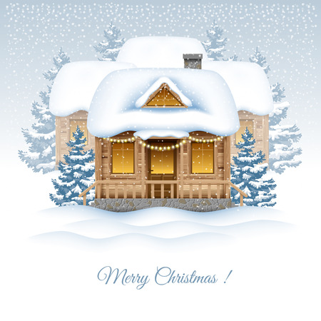 Magic Christmas holiday in the village. Vector image. Illustration