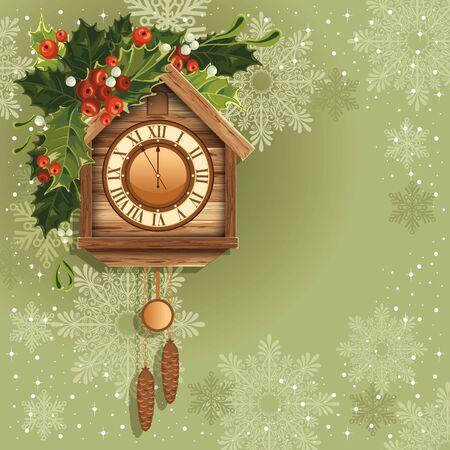 reloj cucu: Fondo de Navidad con reloj de cuco de madera Vectores