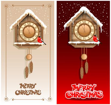 reloj cucu: Fondos de Navidad con reloj de cuco de madera Vectores