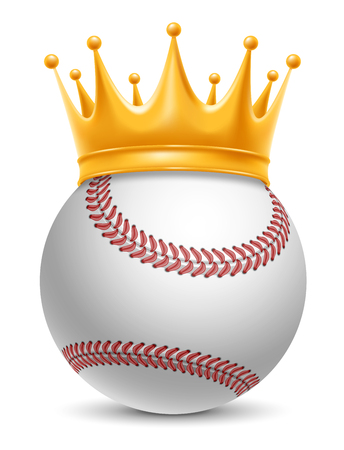 laureate: Baseball Ball in Golden Royal Crown. Concept of success in baseball sport. Baseball - king of sport. Realistic Stock Vector Illustration. Isolated on White Background.
