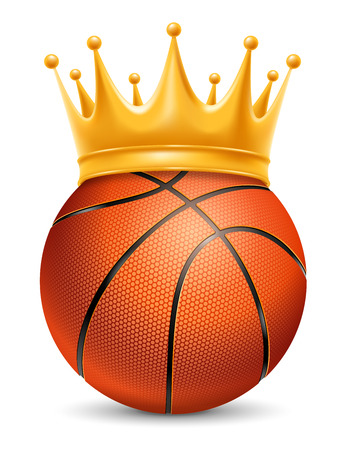 laureate: Basketball Ball in Golden Royal Crown. Concept of success in basketball sport. Basketball - king of sport. Realistic Stock Vector Illustration. Isolated on White Background. Illustration
