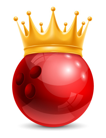 laureate: Bowling Ball in Golden Royal Crown. Concept of success in bowling sport. Bowling - king of sport. Realistic Stock Vector Illustration. Isolated on White Background. Illustration