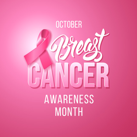 Breast Cancer Awareness Background with Pink Ribbon. October is month of Breast Cancer Awareness in the world. Vector stock illustration. Illustration