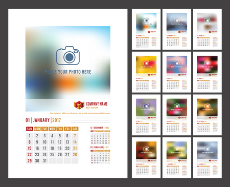 Design of Wall Monthly Calendar for 2017 Year. Print Template with Place for Photo, Your Text. Week Starts Sunday. Portrait Orientation. Set of 12 Months. Stock Vector.