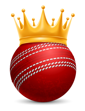 Cricket Ball in Golden Royal Crown. Concept of success in cricket sport. Cricket - king of sport. Realistic Stock Vector Illustration. Isolated on White Background. Illustration