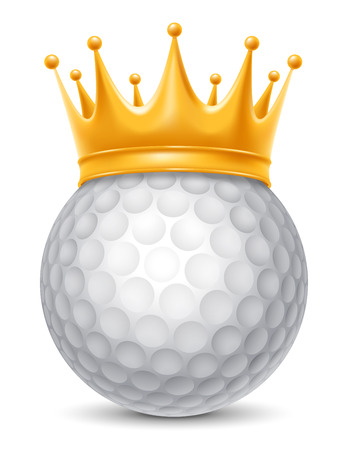 Golf Ball in Golden Royal Crown. Concept of success in golf sport. Golf - king of sport. Realistic Stock Vector Illustration. Isolated on White Background.