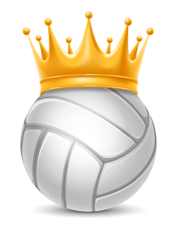 laureate: Volleyball Ball in Golden Royal Crown. Concept of success in volleyball sport. Volleyball - king of sport. Realistic Stock Vector Illustration. Isolated on White Background. Illustration