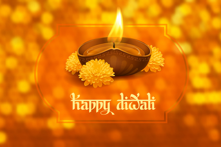 Vector illustration of burning oil lamp diya on Diwali Holiday, ancient Hindu festival of lights, decorated with flowers on blurred background. Original calligraphic inscription Happy Diwali and space for your text. Illustration
