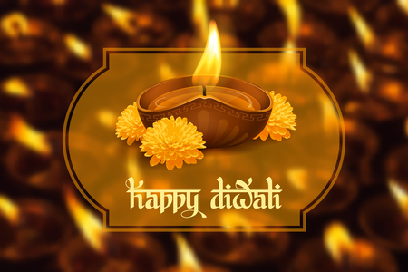 lakshmi: Vector illustration of burning oil lamp diya on Diwali Holiday, ancient Hindu festival of lights, decorated with flowers on blurred background. Original calligraphic inscription Happy Diwali and space for your text. Illustration