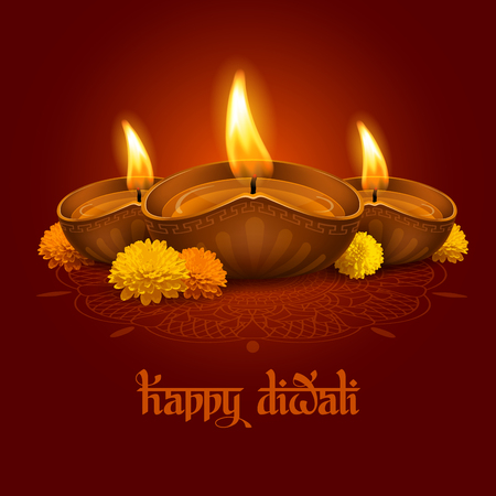 Vector illustration of burning oil lamp diya on Diwali Holiday, ancient Hindu festival of lights, decorated with flowers on ornate dark red background. Original calligraphic inscription Happy Diwali and space for your text. Illustration
