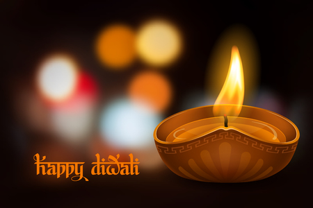 Vector illustration of burning oil lamp diya on Diwali Holiday, ancient Hindu festival of lights, on blurred background. Original calligraphic inscription Happy Diwali and space for your text. Illustration