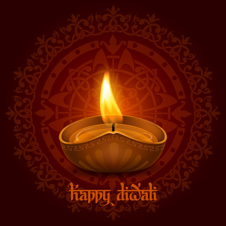 inscription: Vector illustration of burning oil lamp diya on Diwali Holiday, ancient Hindu festival of lights, on ornate dark red background. Original calligraphic inscription Happy Diwali and space for your text.