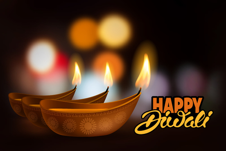 lakshmi: Vector illustration of burning oil lamp diya on Diwali Holiday, ancient Hindu festival of lights, on blurred background. Original calligraphic inscription Happy Diwali and space for your text. Illustration