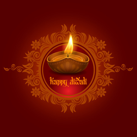 lakshmi: Vector illustration of burning oil lamp diya on Diwali Holiday, ancient Hindu festival of lights, on ornate dark red background. Original calligraphic inscription Happy Diwali and space for your text.