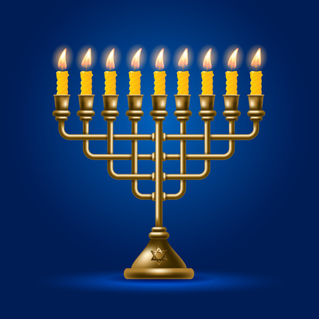 hanukah: Elegant greeting card for Happy Hanukkah, jewish holiday. Hanukkah golden menorah with burning candles on blue background. Vector illustration.