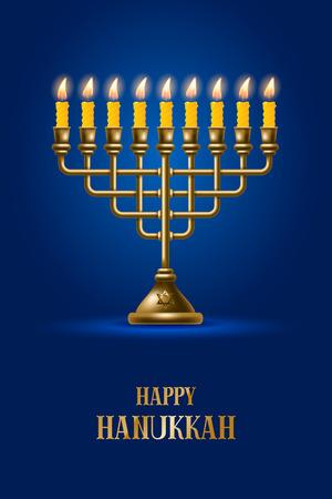 kwanzaa: Elegant greeting card for Happy Hanukkah, jewish holiday. Hanukkah golden menorah with burning candles on blue background. Vector illustration.