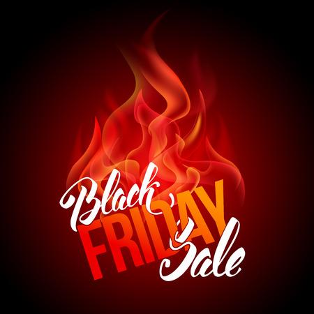 Iscrizione pubblicitaria di vendita di Black Friday con il fuoco. Banner del Black Friday. Concetto di vendita molto caldo. Modello di riserva vettoriale per il tuo design aziendale. Vettoriali