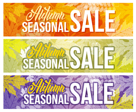 sell out: Seasonal autumn sale backgrounds set with autumn leaves. Lettering with calligraphic inscription Autumn Sale. Vector stock illustration. Illustration