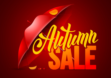 sell out: Seasonal autumn sale background with autumn leaves and red umbrella. Lettering with calligraphic inscription Autumn Sale. Vector stock illustration.