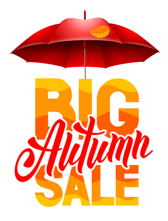 sell out: Seasonal autumn sale ad background with autumn leaves and red umbrella. Lettering with calligraphic inscription Autumn Sale. Vector stock illustration. Isolated. Illustration