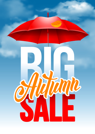 sell out: Seasonal autumn sale ad poster with autumn leaves and red umbrella on cloudy autumn sky background. Lettering with calligraphy inscription Autumn Sale. Vector stock illustration.