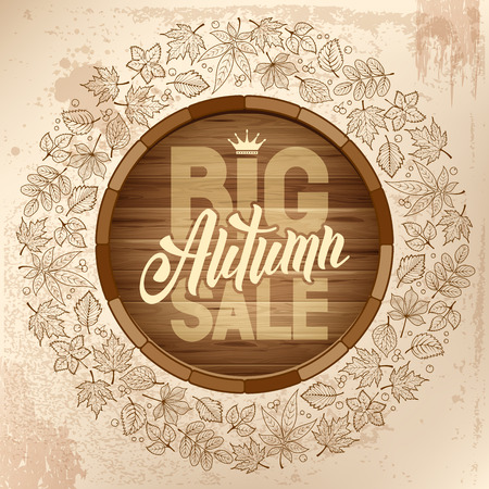 best ad: Autumn sale ad banner with rounded design and line art autumn leaves. Lettering with calligraphy inscription Autumn Sale. Vector stock illustration.