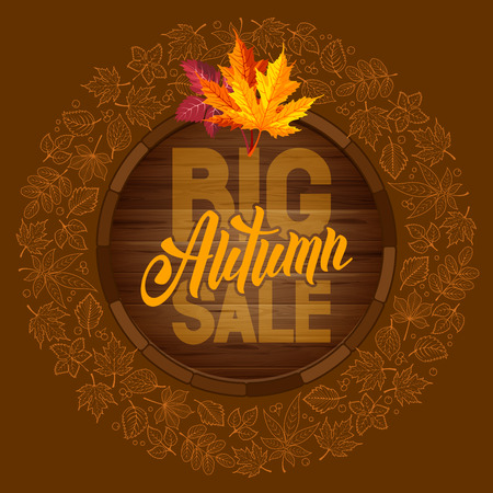 sell out: Autumn sale ad banner with rounded design and line art autumn leaves. Lettering with calligraphy inscription Autumn Sale. Vector stock illustration.