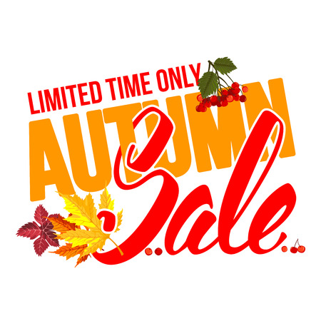 sell out: Seasonal autumn sale ad inscription with colored autumn leaves. Lettering with calligraphic inscription Autumn Sale. Vector stock illustration. Isolated.