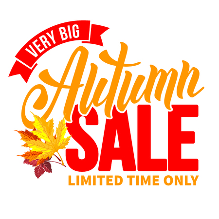 Seasonal autumn sale ad inscription with colored autumn leaves. Lettering with calligraphic inscription Autumn Sale. Vector stock illustration. Isolated.