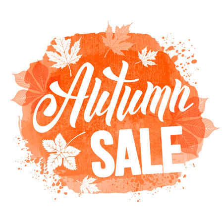 sell out: Autumn sale ad inscription with autumn leaves on watercolor background. Lettering with calligraphic inscription Autumn Sale. Vector stock illustration. Isolated. Illustration
