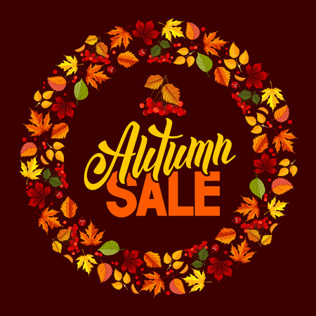 sell out: Seasonal autumn sales rounded design with colored autumn leaves. Lettering with calligraphic inscription Autumn Sale. Vector stock illustration.