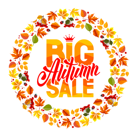 sell out: Seasonal autumn sales rounded design with colored autumn leaves. Lettering with calligraphy inscription Autumn Sale. Vector stock illustration. Isolated on white.