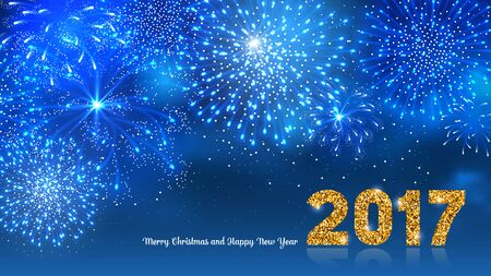blue widescreen widescreen: Christmas festive firework bursting in various shapes and blue colors sparkling against night background. Lettering 2017 with golden glitter. Merry Christmas and Happy New Year. Vector illustration.