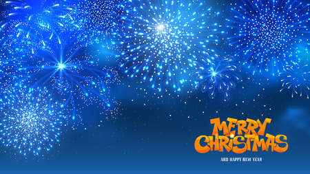 blue widescreen widescreen: Christmas festive firework bursting sparkling against blue night background. Calligraphy Lettering Merry Christmas with golden glitter. Merry Christmas and Happy New Year. Vector illustration. Illustration