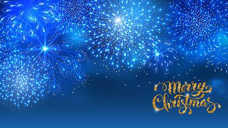 christmas cracker: Christmas festive firework bursting sparkling against blue night background. Calligraphy Lettering Merry Christmas with golden glitter. Merry Christmas and Happy New Year. Vector illustration. Illustration