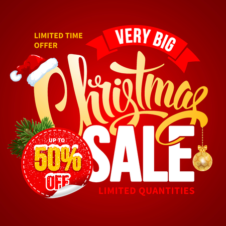 customise: Christmas Sale Design Template. Calligraphy Inscription Christmas Sale. Easy to edit and Customise. Vector Stock Illustration.