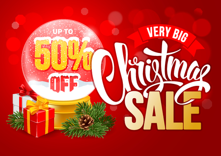 customise: Christmas Sale Design Template with Calligraphy Inscription Christmas Sale and Percents in Snow Globe. Easy to edit and Customise. Vector Stock Illustration.