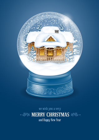 Christmas Greeting with Christmas Snow Globe. Magic Ball with Snow, Decorated House and Flying Snowflakes for your Christmas and New Year Designs. Realistic Vector Stock Illustration.